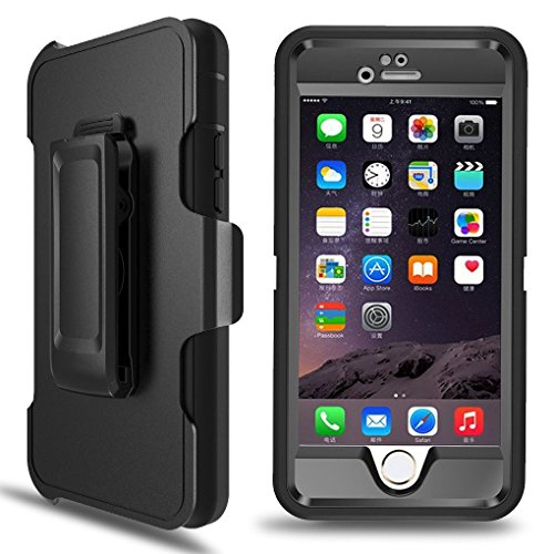 3a1e75d34e iPhone 6 Plus Case, MBLAI 4 in 1 Design Tough Hybrid Shock-Absorbent with  Built-in Screen Protector & Belt Clip Holster Case Cover for iPhone 6 Plus/  6S ...