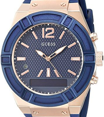 iOS and Android Compatible – Blue – GUESS Men's CONNECT Smartwatch