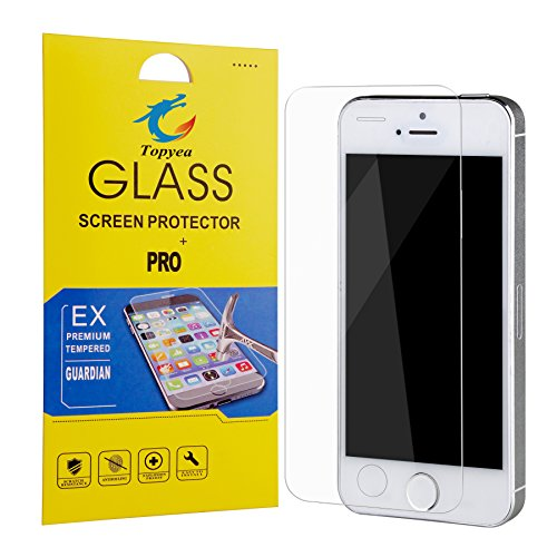 iPhone 5s Screen Protector Tempered Glass ,Ultra Slim Thin Clear Bubble Free Anti-scratch Anti-Fingerprint Oil Resistance 9H Hardness Curved Film for iPhone ...