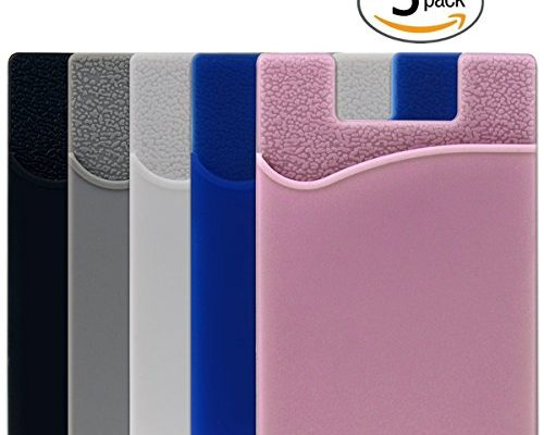 5 Pack Phone Card Holder Shanshui Silicone 3m Adhesive Stick On Id Credit Wallet Case Pouch Sleeve Pocket For Most Of
