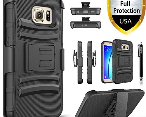 Samsung Galaxy S6 Edge Plus Case, NOT FIT GALAXY S6, S6 EDGE Circlemalls Dual Layers Combo Holster And Built-In Kickstand Shockproof And Stylus Pen Black