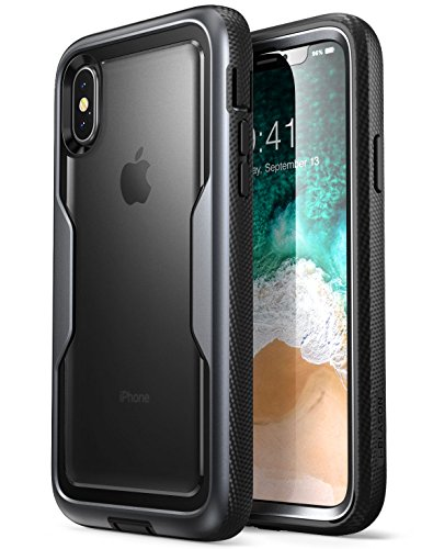 06e027859f i-Blason iPhone X Case, Heavy Duty Protection Clear Back Magma Series Shock  Reduction / Full body Bumper Case with Built-in Screen Protector for Apple  ...
