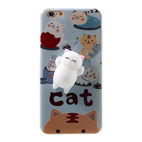 27b438eaa75453 ... 3D Cute Soft Silicone Poke Squishy Cat Phone Back Protective Cover for  Apple iPhone 6/6S Pattern A. 3. Note: the cat body is very easy to get  dirty. 2.