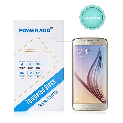Galaxy S6 Screen Protector, Poweradd Premium 0.33mm, Bubble Free, 9H Hardness Tempered