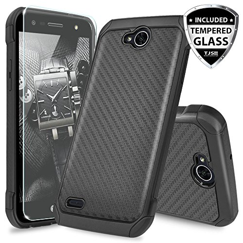 LG X Power 2 M320 Case, LG Fiesta LTE Case, LG X Charge Case, LG Fiesta 2 Case, with TJS Tempered Glass Screen Protector Shock Absorbing Armor Case Cover ...