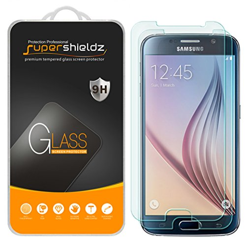 2-Pack Supershieldz for Samsung Galaxy S6 Tempered Glass Screen Protector, Anti-Scratch, Anti-Fingerprint, Bubble Free, Lifetime Replacement Warranty