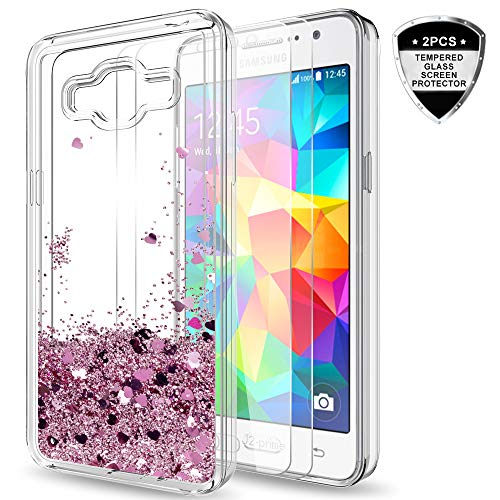 Galaxy Grand Prime,J2 Prime Case with Tempered Glass Screen Protector 2 Pack for Girls Women,LeYi Glitter Shiny Liquid Clear TPU Protective Phone Case for ...